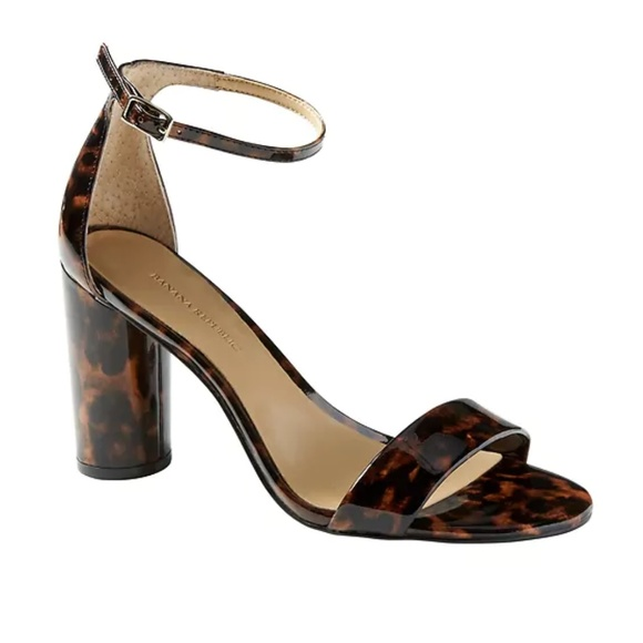 Banana Republic Womens Bare High Block-Heel Print Sandal Tortoise Patent Leather Size 10 VB2N5JY